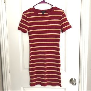 red and yellow stripped stripes bodycon dress